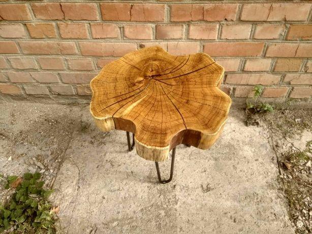 Стильный журнальный столик, столик Loft, стол из спила дерева