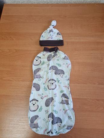Детская пеленка-кокон, носочки, шапочки и царапки