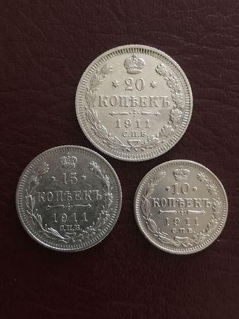Царские наборы монет из Серебра 1911,1909,1914,1906 Отличное состояние