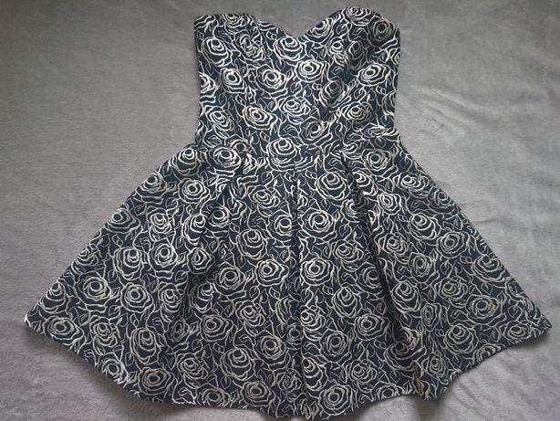 Sukienka biało - czarna -BALOWA