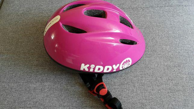 kask rowerowy Kiddy one 47 - 53 cm fioletowy różowy b'twin decathlon