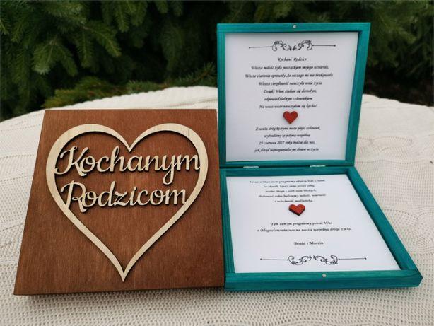 Drewniane Zaproszenie dla Rodziców w pudełeczku Ślub Błogosławieństwo