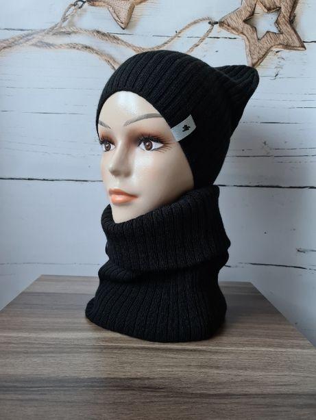 Komplet damski, prążek, czapka+komin kolor czarny