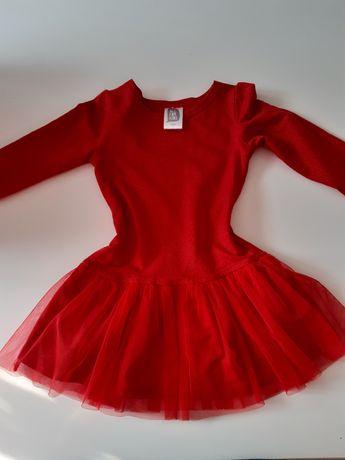 Sukienka 92/98 czerwona krwista w zlote kropki