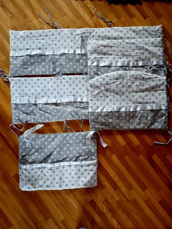 Бортики защита в кроватку на 4 стороны + органайзер карман