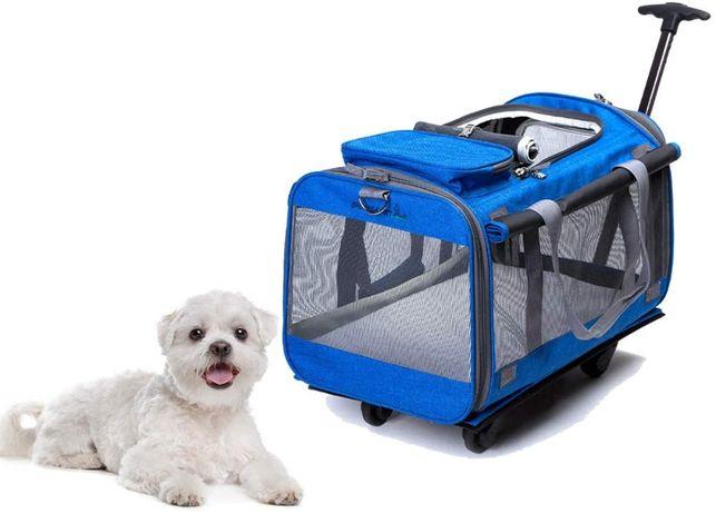 Wielofunkcyjna torebka-transporter dla psa na kółkach