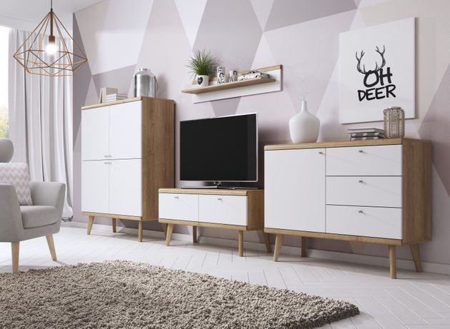 Zestaw mebli PORO komplet skandynawski salon drewno RÓŻNE ELEMENTY
