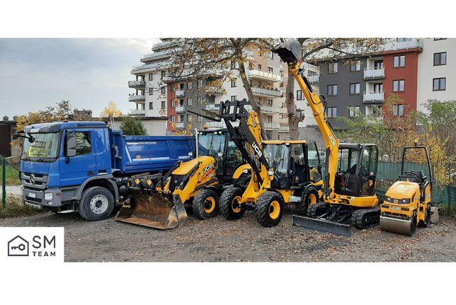 Usługi mini-koparka JCB, maszyny budowlane, wykopy Kraków i okolice