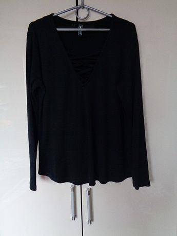 bluzka czarna z paseczkami na dekolcie Bon Prix 42/44