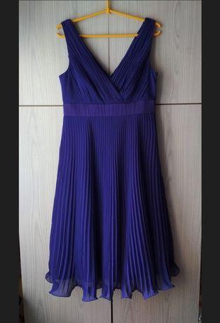 Granatowa niebieska suknia plisowana wesele komunia studniówka Monsoon