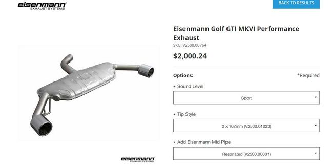 Panela Final Golf 6 VI GTI - Eisenmann Sport 2x102mm