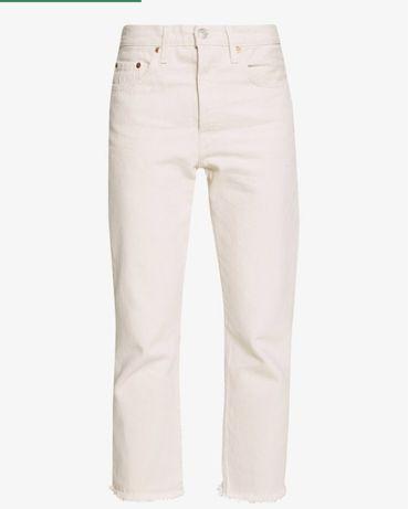 Levi's 501 crop jeansy dzinsy proste ecru bezowe biale xs s 34/36
