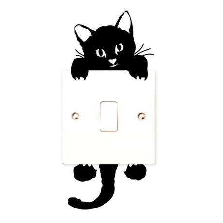 Наклейка виниловая в детскую на стену выключатель розетку котик