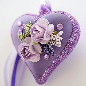 Serduszko szklane 3D serce dekorowane ze szkła zawieszka bombka kwiaty