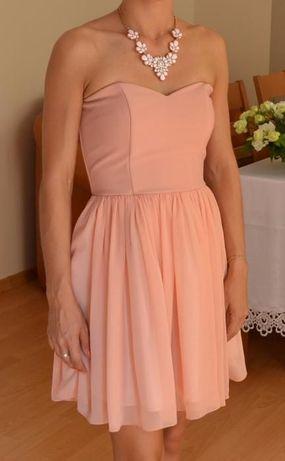 Piękna pudrowa sukienka nowa r.34