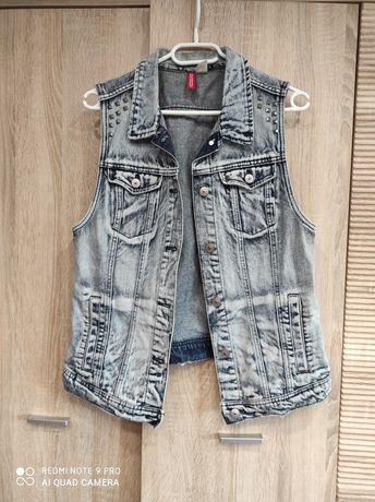 Kamizelka bezrękawnik jeansowa dżinsowa Dividet L 40