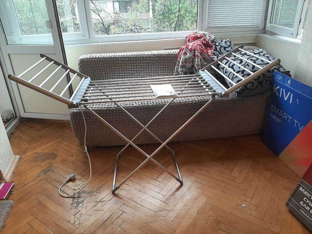 Электрическая раскладная напольная сушилка для белья с дополн секциями