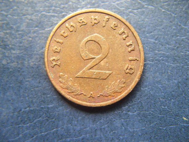 Stare monety 2 reichsfenigi 1939 A Niemcy / 2