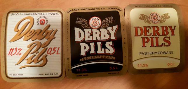 3 etykiety piwa Derby Pils Browar Sobotka