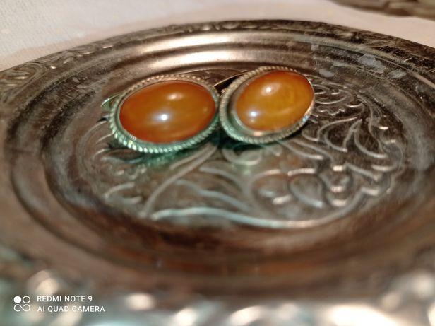 Старинные запонки (серебро+янтарь)
