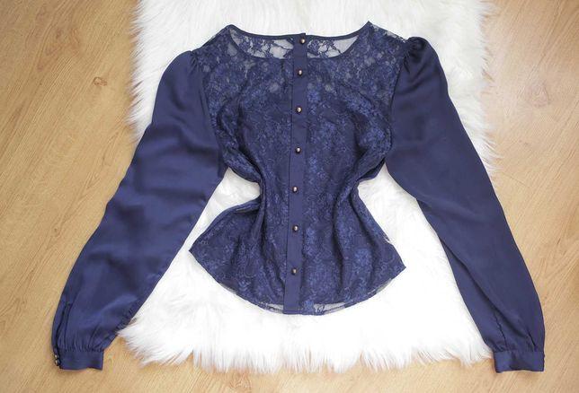 Granatowa bluzka tiul z koronkowym tyłem boho vintage kooronka
