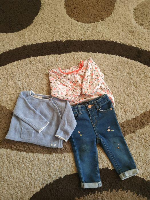 Zestaw dla dziewczynki roz. 74, jeansy, sweterek Zara, body Elbląg - image 1