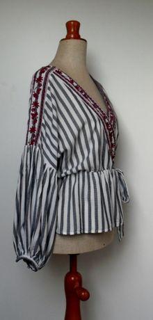 bluzka haft falbanki bufiaste rękawy kokarda M