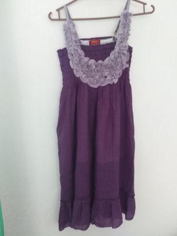 Sukienka krótka fioletowa L kwiatki xinda rozciągliwa