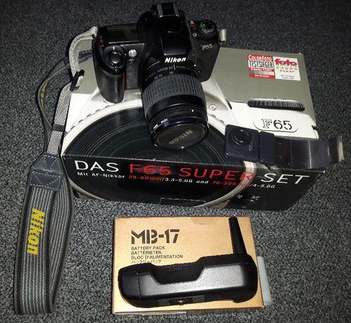 Nikon F65 lustrzanka analog + Nikkor AF 28-80/3.3-5.6G + MB-17 + ...