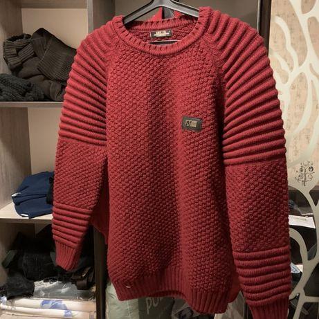Теплый красный зимний свитер Armani, Stone Island, CP