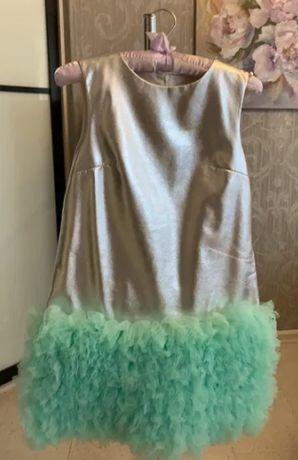 Шикарное детское кожаное платье