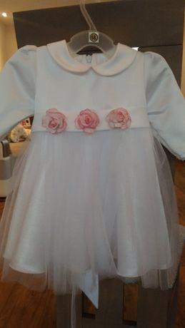 Biała sukieneczka na chrzest, święta, wesele rozm 68