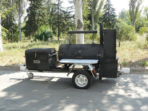 Смокер-трейлер, передвижной гриль, BBQ, коптильня, смокер, прицеп
