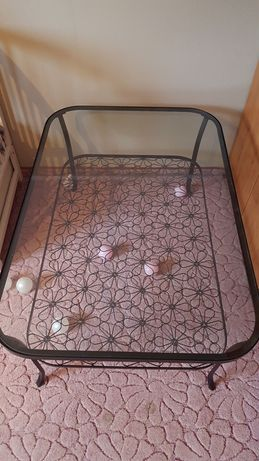 Duża szklana ława w kwiaty IKEA
