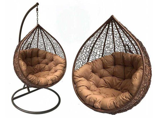 Fotel wiszący kokon ogrodowy gniazdo bujany kosz BRĄZ