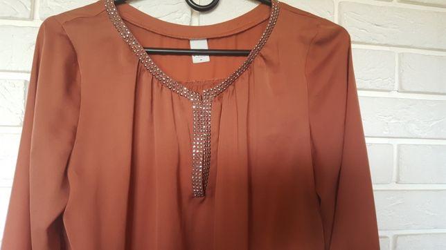 Caramel piękna satynowa bluzka L