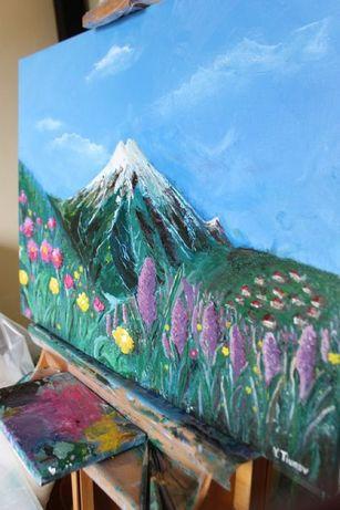 """Картина маслом 80х60см """"Весна в горах"""" Холст лен"""