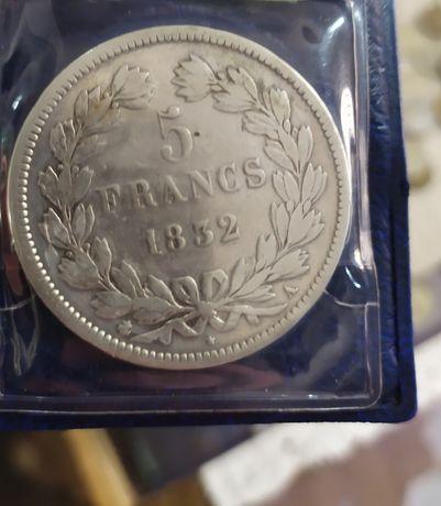 5 франков 1832 год. Серебро. Оригинал.