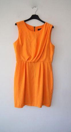 pomaranczowa zolta elegancka krotka sukienka 38 M 40 L 36S prosta zip