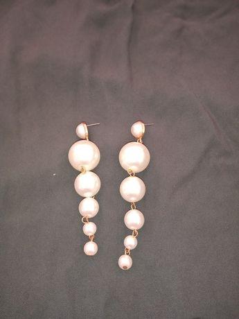 Kolczyki ślubne długie perły