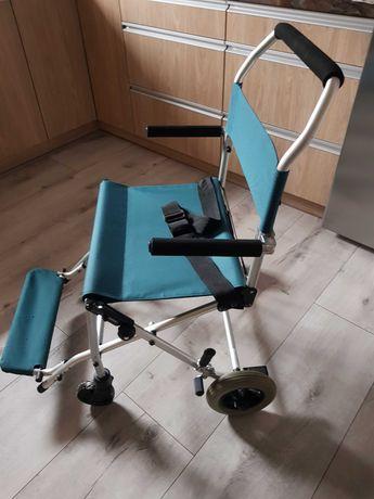składany wózek, krzesło transportowy inwalidzki aluminiowy
