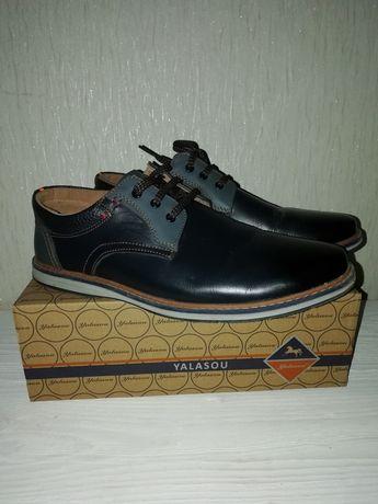 Новые! Туфли мокасины на подростка, парня (кожа) р. 41 Стелька 26 см