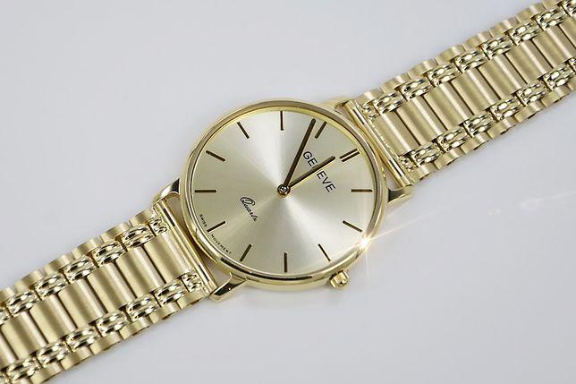 Złoty zegarek męski 14k włoski Geneve mw006ydw&mwb009y B