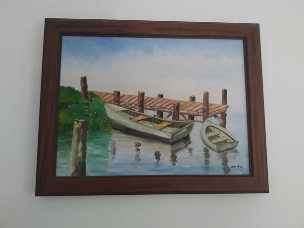Quadro  tema náutico ou barcos pintado a mão