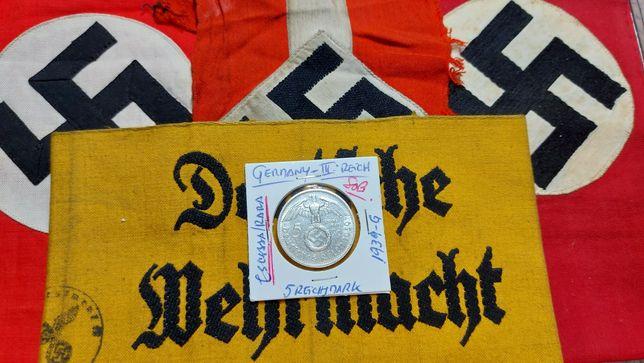 5 reichsmark ESCASSA/RARA tiragem extrem.baixa Alemanha nazi suástica