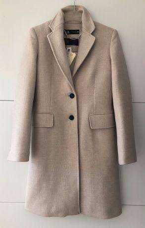 NOWY płaszcz Zara wełna 66% o męskim kroju beżowy szary popielaty XS