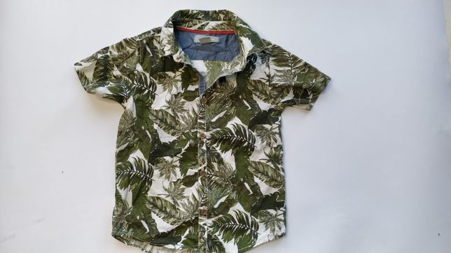 Primark elegancka koszula liście khaki 92cm