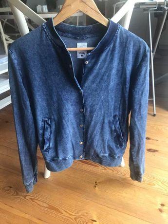 Niebieska bluza oldschool rozm XS/S zapinana
