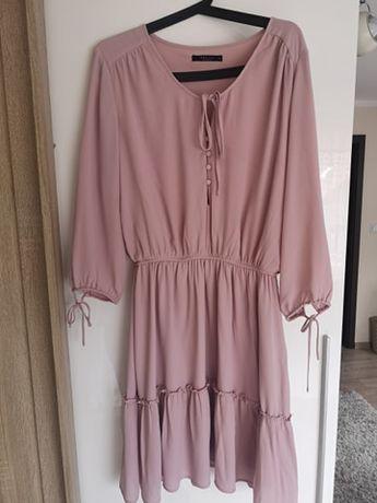 MOHITO 42 kolor sukienki ciepły pudrowy różowy