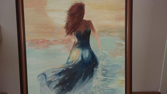 obraz olejny w drewnianej ramie postać kobiety